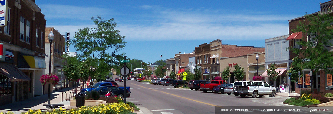Photo of downtown Brookings, South Dakota where Cooks Waste operates their business.